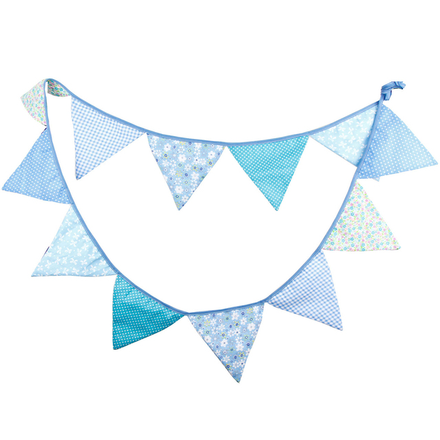 12 Flags 3.2m Blue Garlands Cotton Bunting Banners Party Decoration