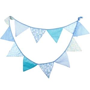 Image 3 - 12 drapeaux 3.2m bleu guirlandes pour anniversaire coton banderoles bannières fanion bébé douche mariage guirlande drapeaux pour la décoration de fête