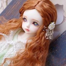 BJD кукольные парики оранжевый красный плетеный волнистый длинный кудрявый имитация мохера для 1/4 BJD MSD кукольные парики кукольные аксессуары