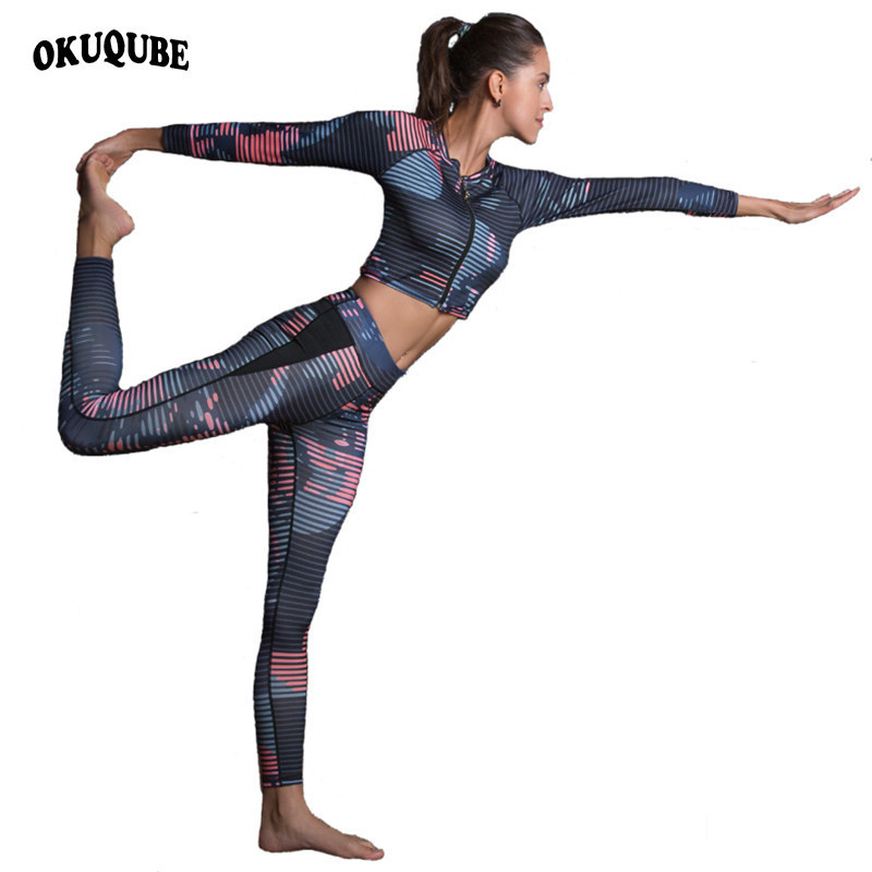 Okuqube New Ladies Sports activities Swimsuit Striped Health Clothes Two Items Yoga Set Printed Crop Prime+Fitness center Leggings S-Xl Sportswear Feminine