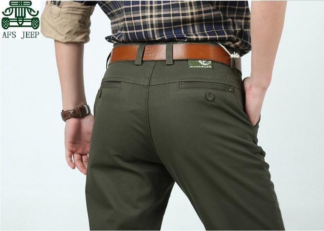 AFS JEEP 100% Algodão Masculino Marca de Espessura Cashmere Inner Calça Casual, Tamanho Grande do Homem cintura lazer Calças mjid, Calça de carga Dos Homens