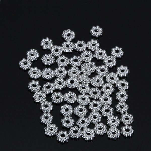 200pcs 4mm Snowflake Flower Shape Loose Spacer Beads Jewelry Making Findings