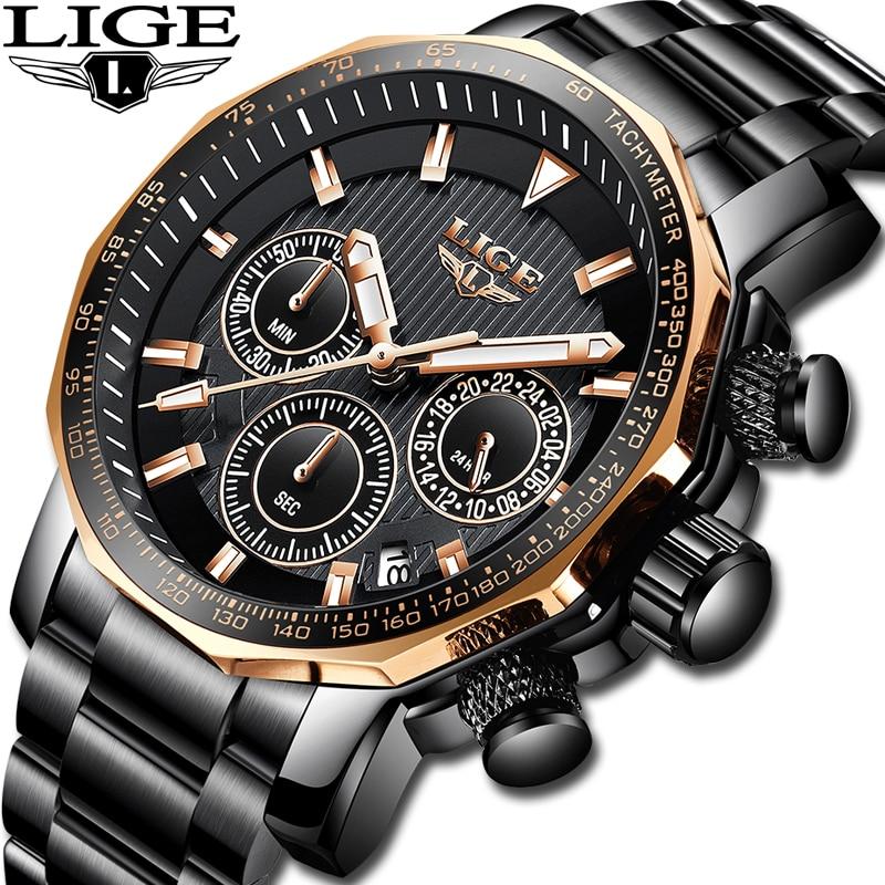 LIGE Men font b Watches b font Top Brand luxury Waterproof Analog Quartz font b Watch