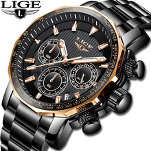 LIGE Men Watches Top Brand luxury Waterproof Analog Quartz Watch Men Fashion Casual Chronograph Relogio Masculino 30m Waterproof