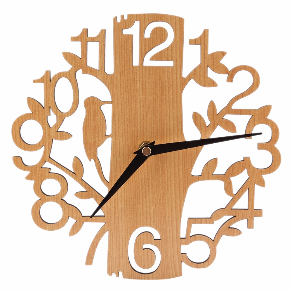 Create Design 30cm Tree Shape Mute Wall Clocks Home Decor Modern Novelty Wooden Brief Silent Bedroom Livingroom Hanging Clock