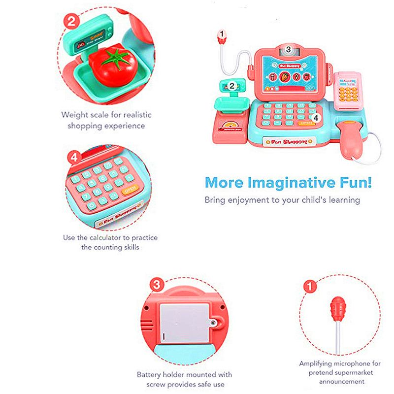 Premium New Durable Cash Register Toy Pretend Play Educational Toy with Scanner Sound Music Microphone Calculator Play
