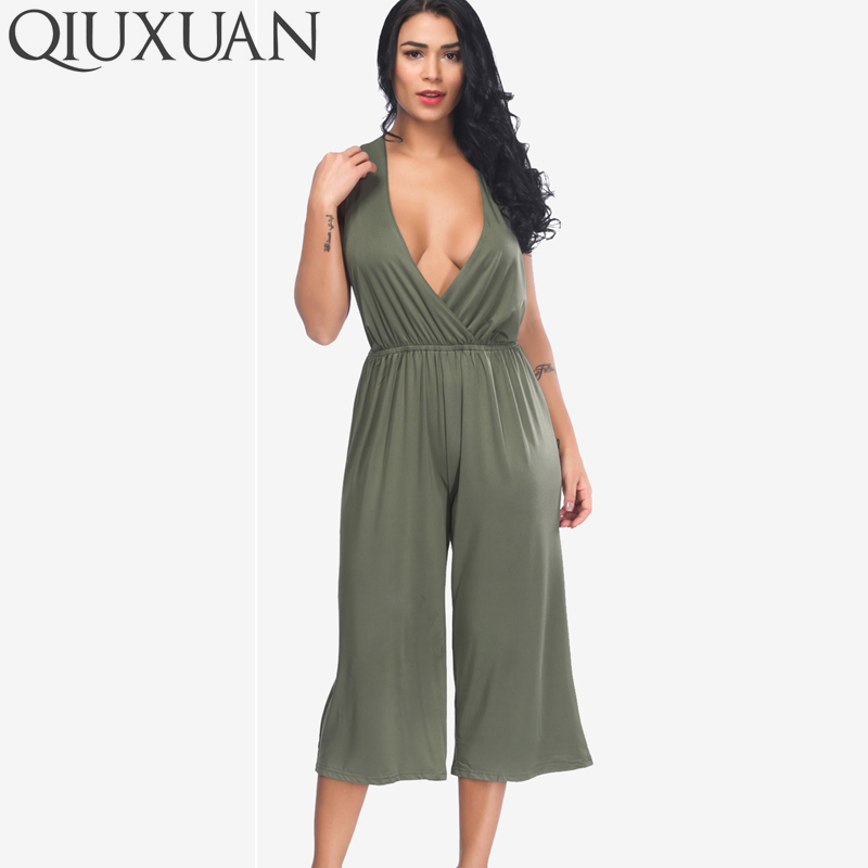 QIUXUAN Plus Size Wrap Jumpsuits Summer Sleeveless Wide Leg Jumpsuits Fashion Cross-Back Plunging Jumpsuits Stretch Overalls