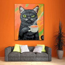 DIY Coloring paint by numbers Black cat relaxing with coffee figure paintings kits 40x50 framed(China)