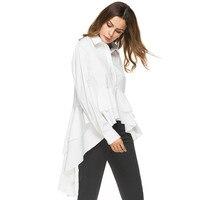 New Cascading Ruffle White Shirt Women Fashion Tops 2017 Autumn Ladies Elegant Lapel Long Sleeve High