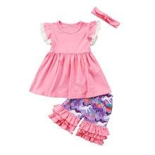 77e029f1c Newest Toddler Girls Unicorn Clothing Set Kids Ruffles Tops Dress Shorts  3Pcs Outfits Set Clothes(