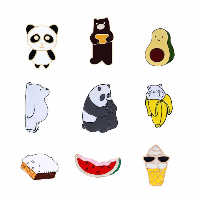 Bonito animal pinos esmalte broches para as mulheres pino de lapela urso de gelo panda grizzly banana melão pão pêra cartoon metal distintivo jóias