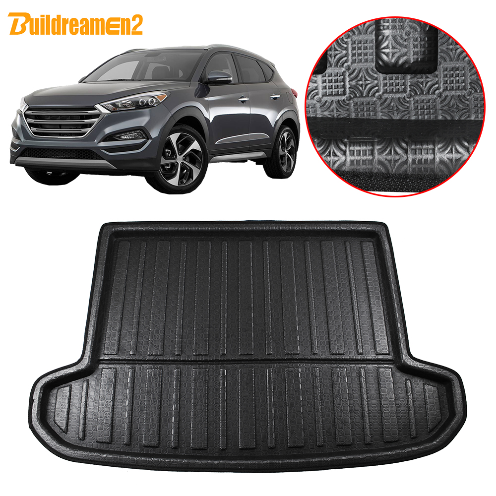Buildreamen2 For Hyundai Tucson Car Rear Trunk Mat Tail Luggage Floor Tray Boot Liner Cargo Carpet Mud 2016 2017 2018 2019