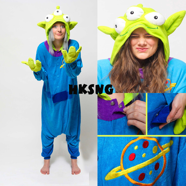HKSNG Adult Winter Warm Cartoon Animal Alien Sangan Kigurumi Pajamas Onesie  Cosplay For Men And Women 7d29f5817b2ce