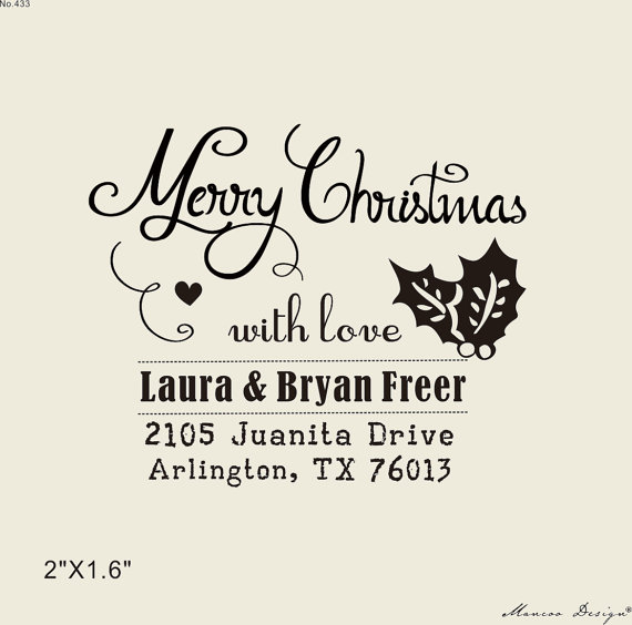 xmas gift holiday return address stamp custom rubber stamps 2 x16 merry christmas with love self inking holly stamp in stamps from home garden on