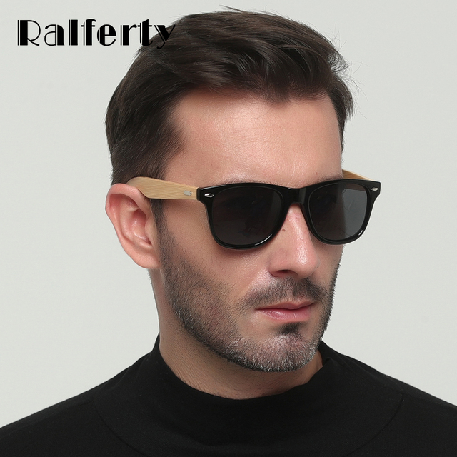 67d7735d07eff Ralferty UV400 Real Bamboo Óculos De Sol Dos Homens Polarizados Mulheres  Negras Óculos De Sol Masculino