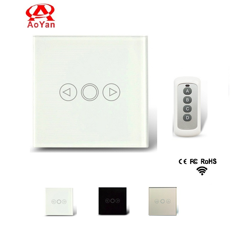 Aoyan EU Standard Remote Switch, Crystal Glass Switch Panel ,Dimmer Switch For Dimmable AC 110V-250V Compatible Broadlink RM2 RM livolo remote switch with crystal glass panel wall light remote touch led indicator 3gang 1 way vl c503r 11 12 without remote