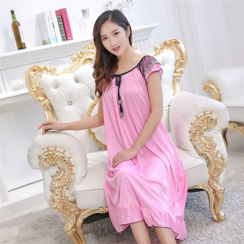 Hot Women Night Gowns Sleepwear Nightwear Long Sleeping Dress Luxury ...