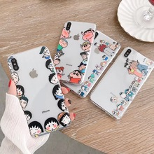 Japan Cute Crayon Shin-chan Family phone case For iphone Xs MAX XR X 6 6s 7 8 plus Couple gift transparent soft TPU back Cover цена и фото