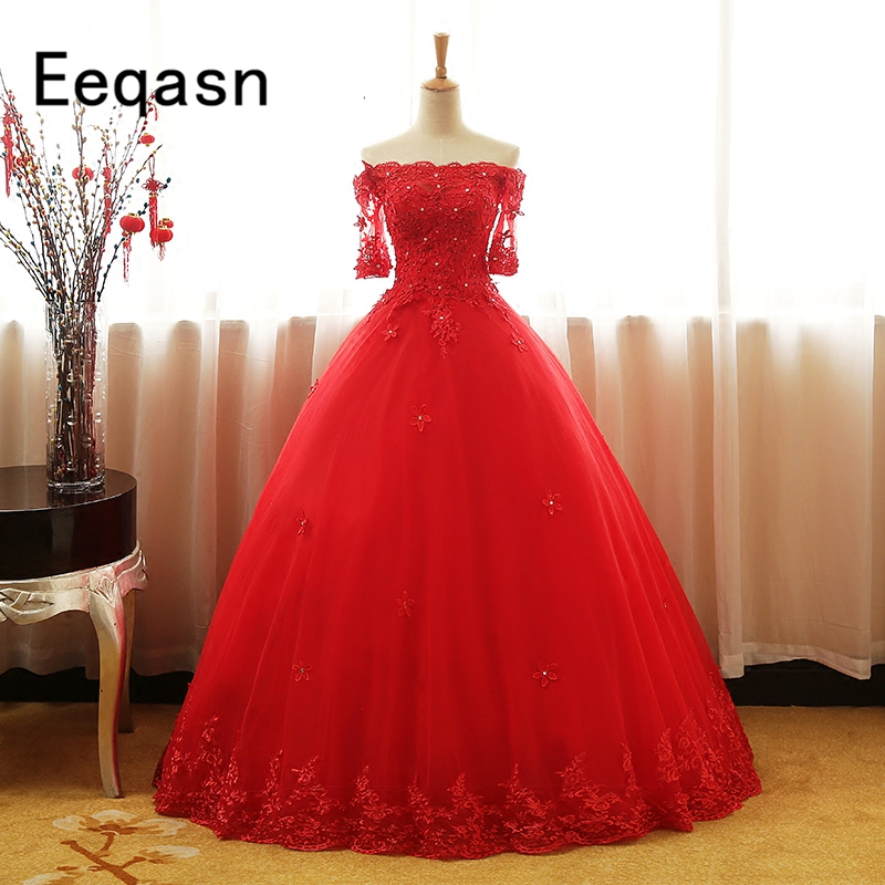 Ball-Gown Quinceanera-Dresses 16-Dress Half-Sleeves Sweet Debutante Lace Red 15-Years