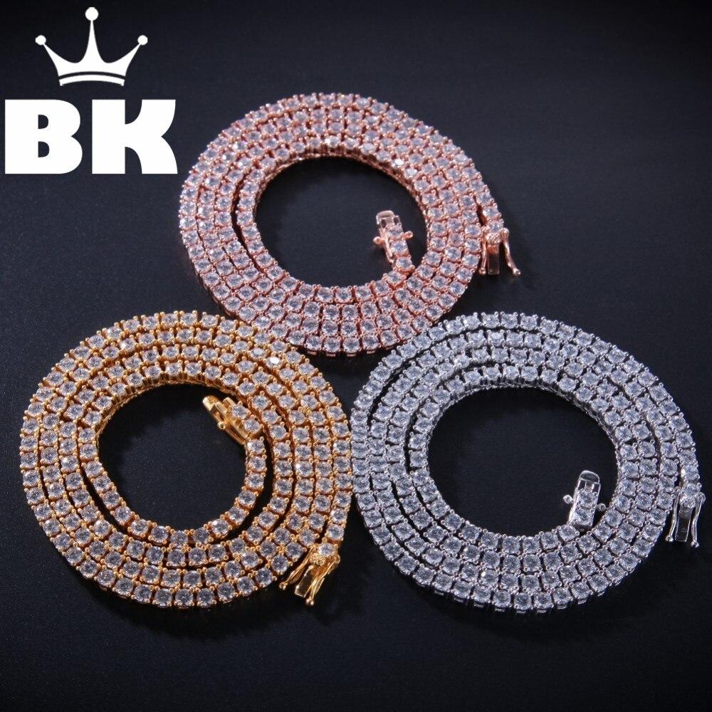 El rey BLING auténtico 100% Plata de Ley 925 exquisita mujeres hombres 3mm CZ collar lujo plata esterlina tenis encantador regalo-in Collares colgantes from Joyería y accesorios    1