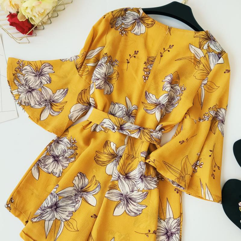 Yellow Red Floral Print Bow Wide Leg Lace Up Yellow Romper Jumpsuit 4