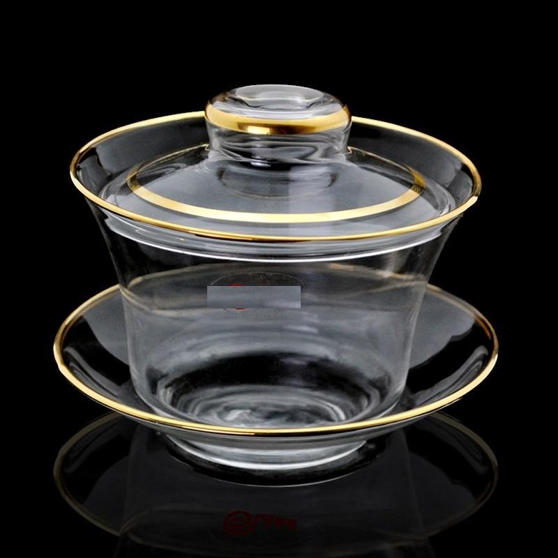 Ensemble de thé de cérémonie de thé de kung fu de bol de couverture en verre résistant à la chaleur et résistant à la chaleur trois tasses de tasses de thé et de thé cu - 2