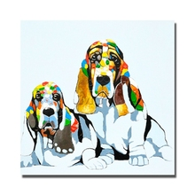 Lovely dog picture No framed large size cheap price artwork painting free shipping for wholesales new oil painting