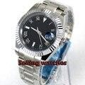 40 мм bliger стерильный черный циферблат светящийся твердый корпус сапфировое стекло автоматические мужские часы