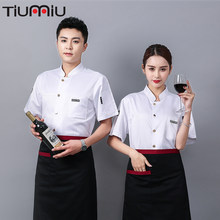 Groothandel Chef Uniform Logo Custom Kok Jas Anti Water Olie Proof Stof Kapper Mannen Vrouwen Werkkleding Hotel Uniforme(China)