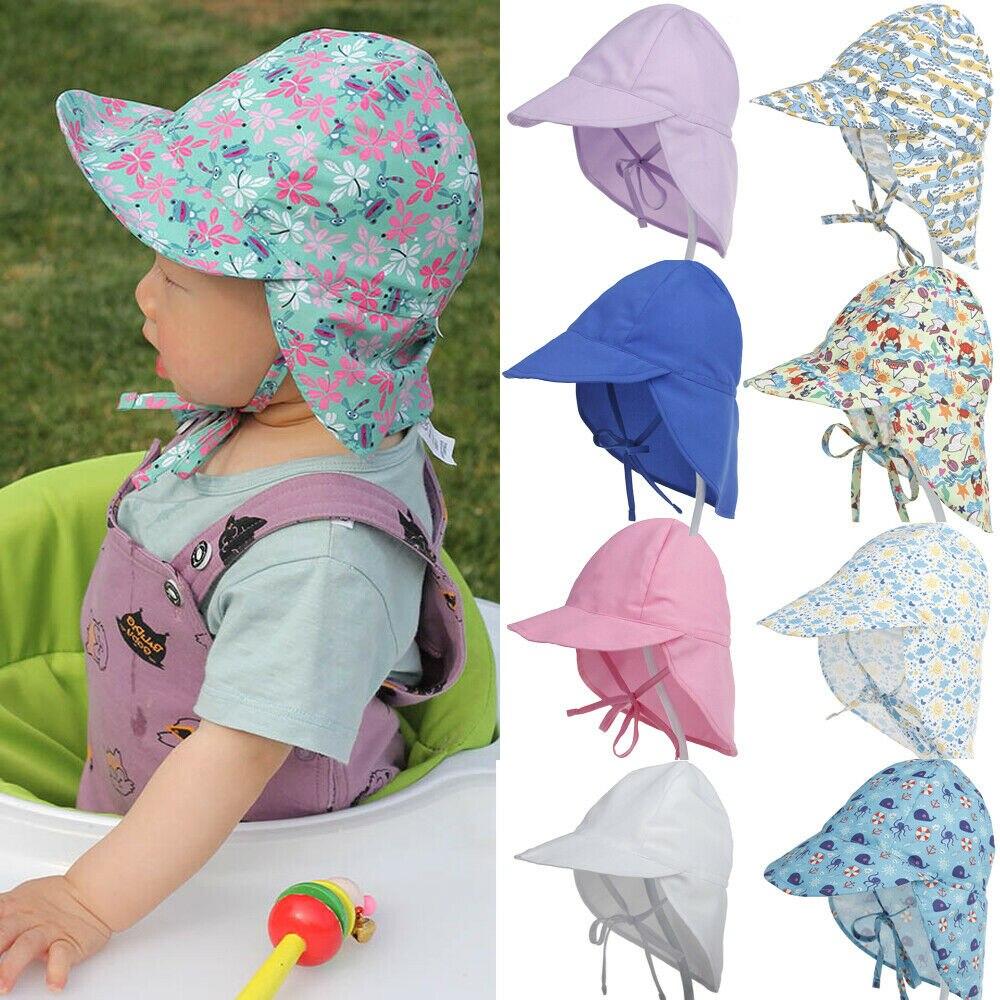 Защитная хлопковая Панама, летняя шапка для новорожденных, унисекс, Детская Солнцезащитная шапка, однотонная шапка с цветочным принтом, бан...