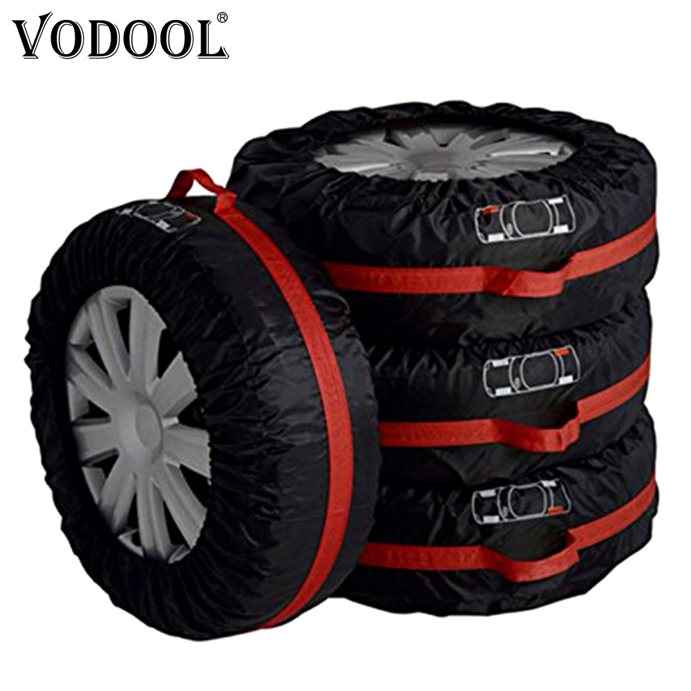 VODOOL 4Pcs Spare Tire Cover Case Polyester Universal Car Tires Storage Bag Automobile Tyre Accessories Vehicle Wheel Protector