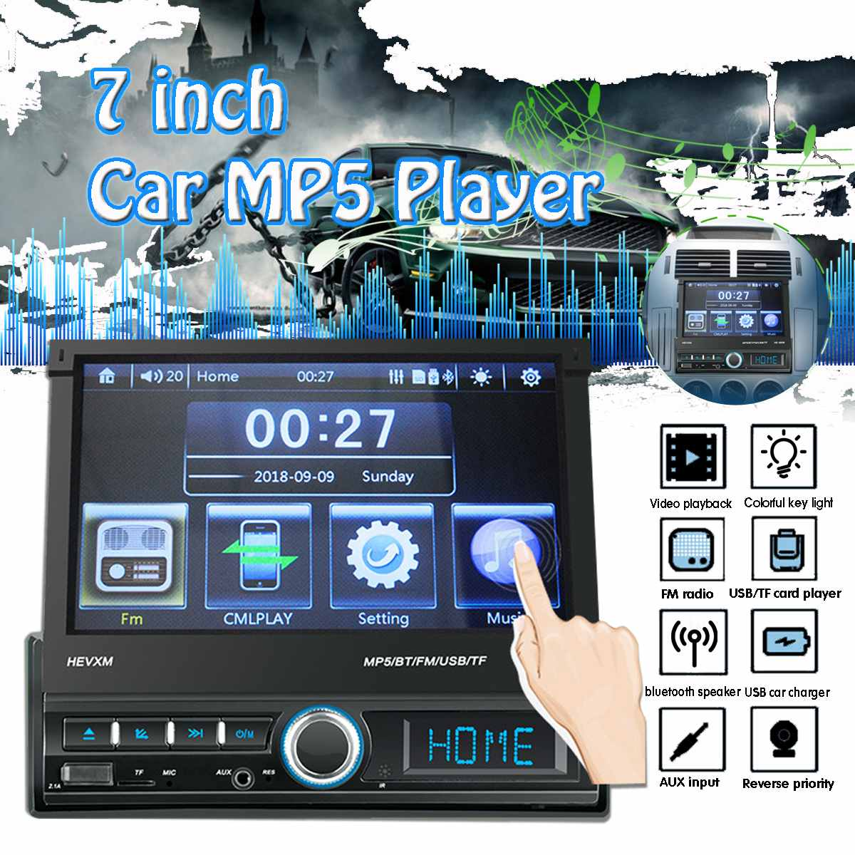 MP5 Player bluetooth FM 7Inch 1 DIN  Car Stereo Radio Screen In Dash Hands-Free Calls Remote Control USB AUX TFMP5 Player bluetooth FM 7Inch 1 DIN  Car Stereo Radio Screen In Dash Hands-Free Calls Remote Control USB AUX TF