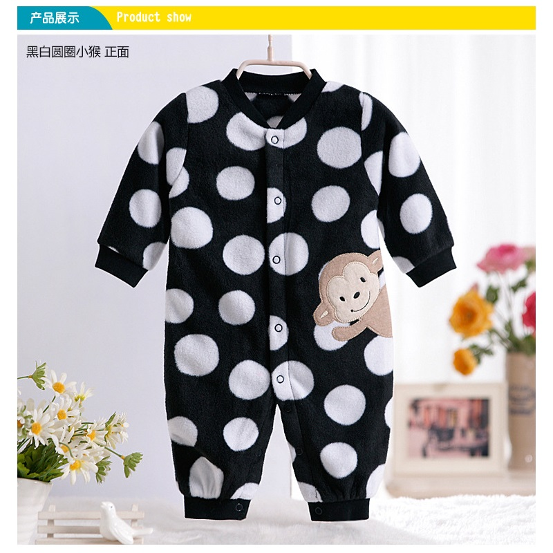 Monkey Love Print Fleece Newborn Baby Girl Overalls Romper Macacao Bebe Body Baby Rompers New Born Baby Clothes, Size 3-12M penguin fleece body bebe baby rompers long sleeve roupas infantil newborn baby girl romper clothes infant clothing size 6m