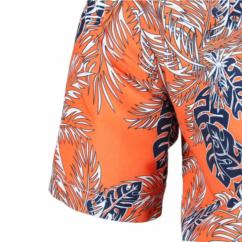 Мужские летние модные пляжные гавайская рубашка Camisa Hawaiana Марка Slim Fit короткий рукав цветочные рубашки Повседневное для отдыха и вечеринок Костюмы