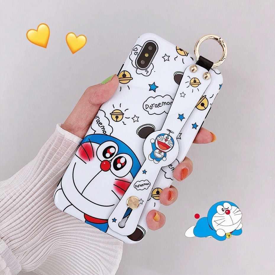 Cassa Del Telefono del fumetto di Doraemon per il iphone 7 8 6 S 6 Plus X XR XS Max di Lusso Cute Anime Da Polso cinghia Del Basamento Della Copertura Fonda per iPhone X