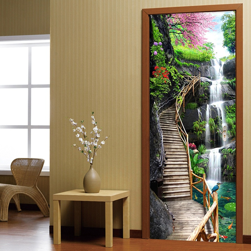 Buy Free Shipping Creative 3d Waterfalls Nature Wall Stickers Diy Mural Bedroom