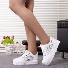 Summer Women Shoes Casual Cutouts Lace Canvas Shoes Hollow Floral Breathable Platform Flat Shoe White Black(China)