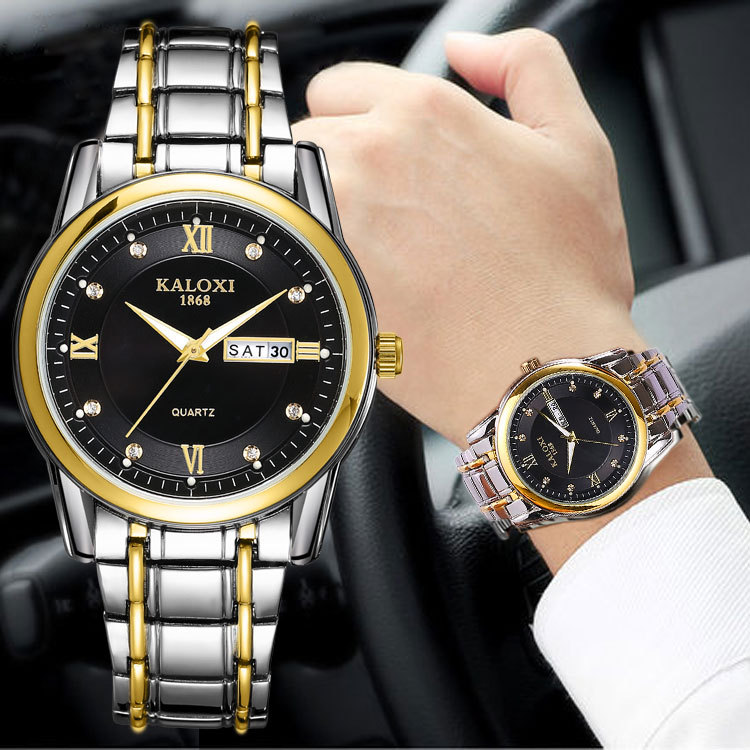KALOXI 2019 Fashion Watches Men Stainless Steel Strap Waterproof Gift Clock Relogio Masculino hodinky Male Quartz Wristwatches