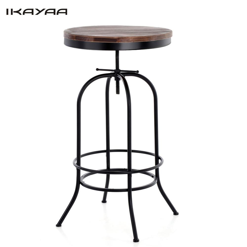 Adjustable Height Outdoor Coffee Dining Table: IKayaa Pine Wood Top Bar Coffee Table Height Adjustable