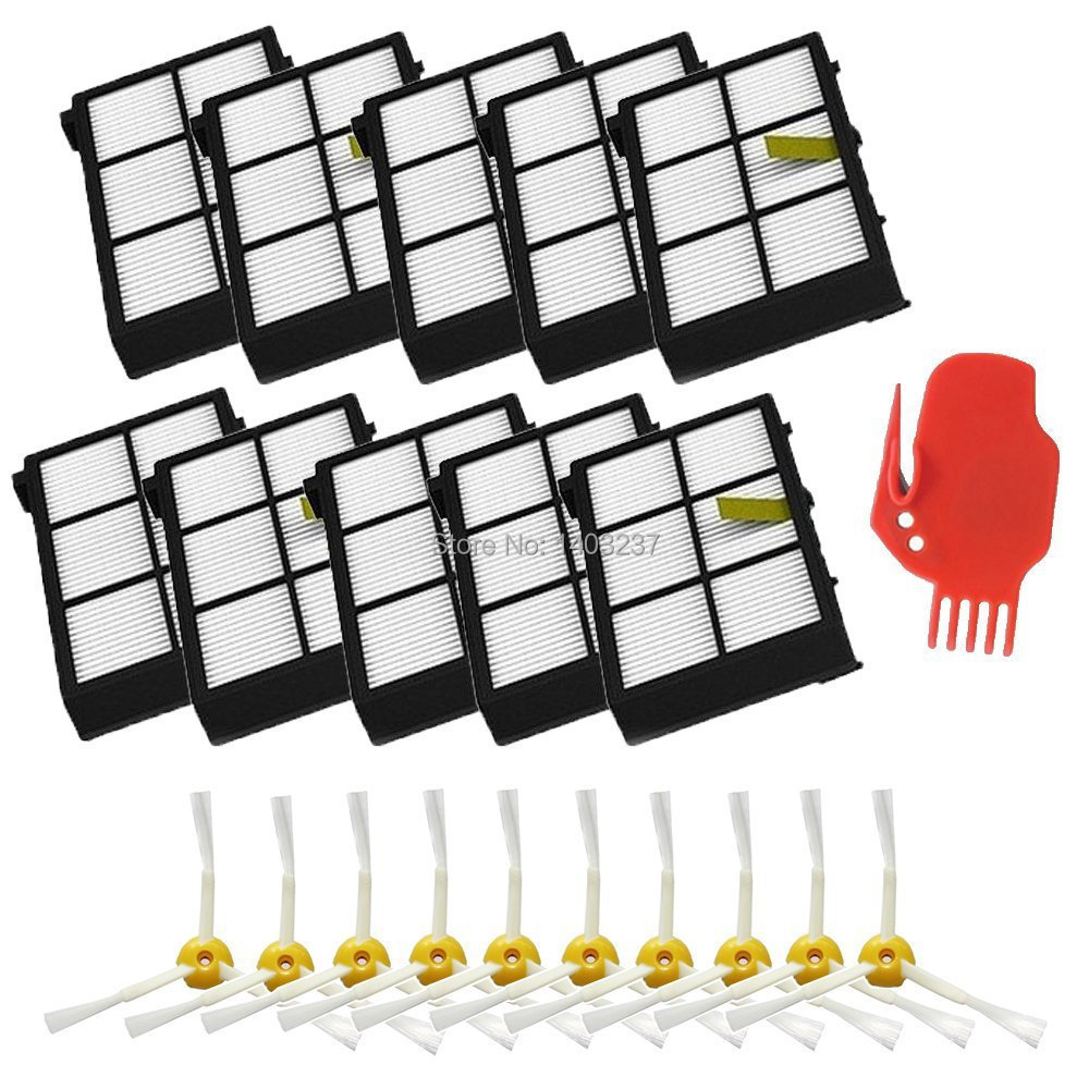 10 x HEPA Filter 10 x 3-armed Side Brush Cleaning Tool for iRobot Roomba 800 series 870 880 900 series 980 Vacuum Cleaning replacement filters side brush for irobot roomba 800 series 870 880 980 robotic vacuum parts side brushes 3 armed cleaning tool
