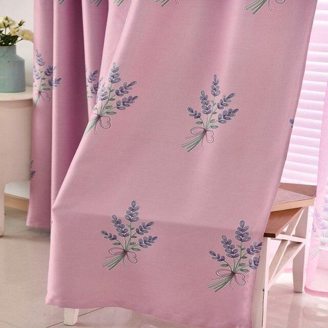 pastorale romantische roze lavendel tule gordijnen groene verduisterende gordijnen voor woonkamer blue print gordijn doek stoffen ap181 30