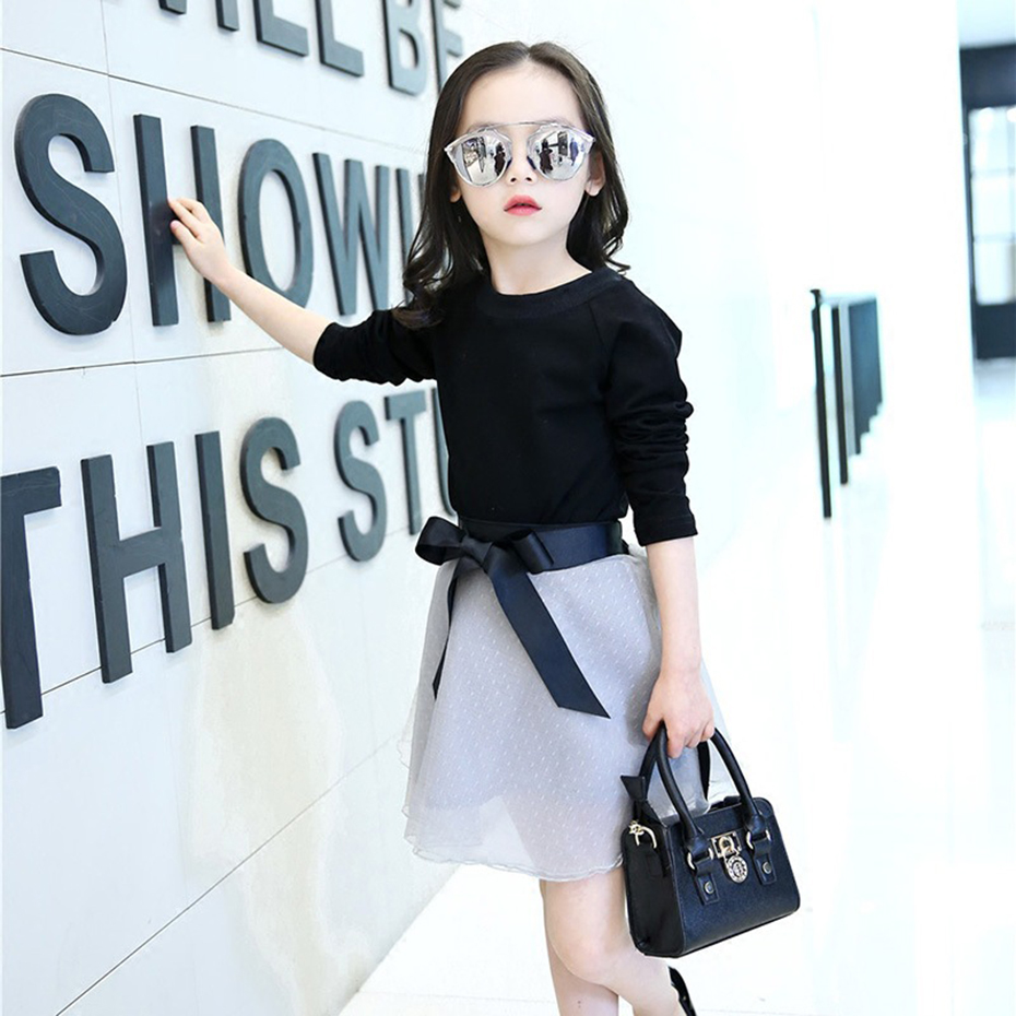 Summer Girls Clothing Sets Teenage Solid Sweatshirt +Tutu Dress 2Pcs Children Clothing Set 6 8 10 12 Year Girls Clothes