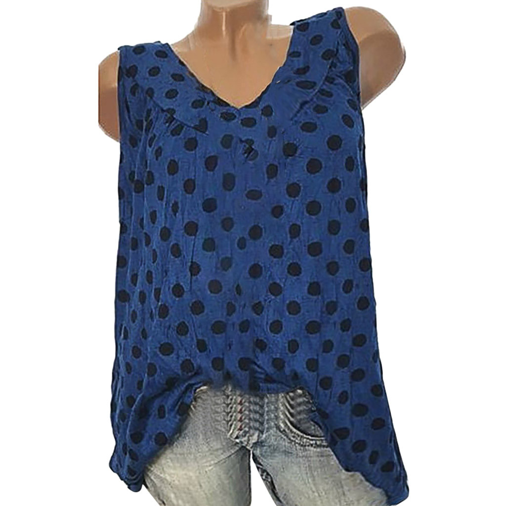 Plus Size Summer Womens O-Neck Wave Point Printing Sleeveless Vest Hot Sale Hot Sale Loose Shirt   Tank     Tops   For 2019 New Fashion