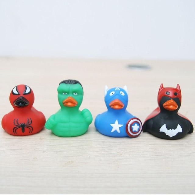 20PCS 7Cm Surprise Superhero Avengers Iron Man Spider-Man Hulk American Captain Rubber Duck Toy Baby Gift Collection Duck