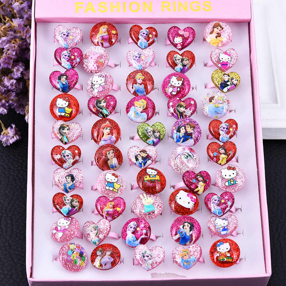 Wholesale 12/36/50/100pcs Lovely Mixed Plastic Cartoon Girls Princess Children/Kids Baby Rings With Display Box Free Shipping