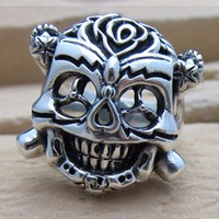 100 Same The Expendables 2 Luck Ring Vintage Stallone 925 Sterling Silver Skull Man Rings Skeleton