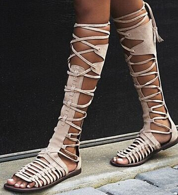 Hot Selling High Quality Grey Suede Leather Lace-up Gladiator Sandals Boots for Women Fashion Flat Summer Dress shoes woman Free