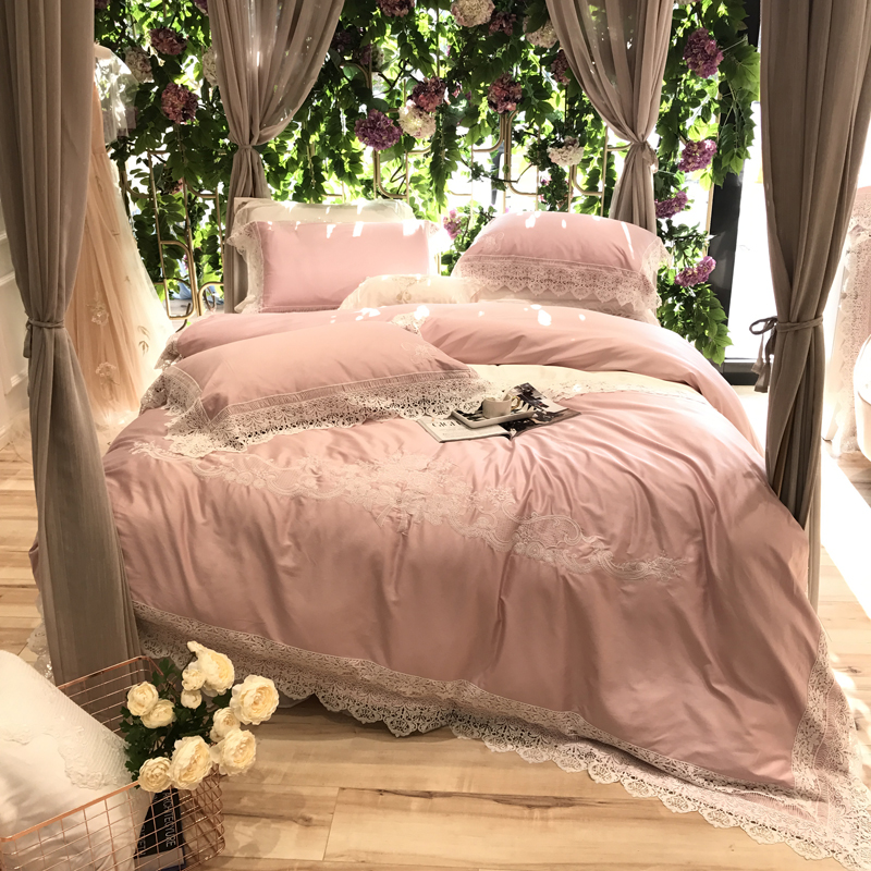 100S Pima Cotton Pink Luxury Lace Embroidery Bedding Set Queen King Size Duvet Cover Bed Linen Bed sheet Pillowcases 4/6pcs