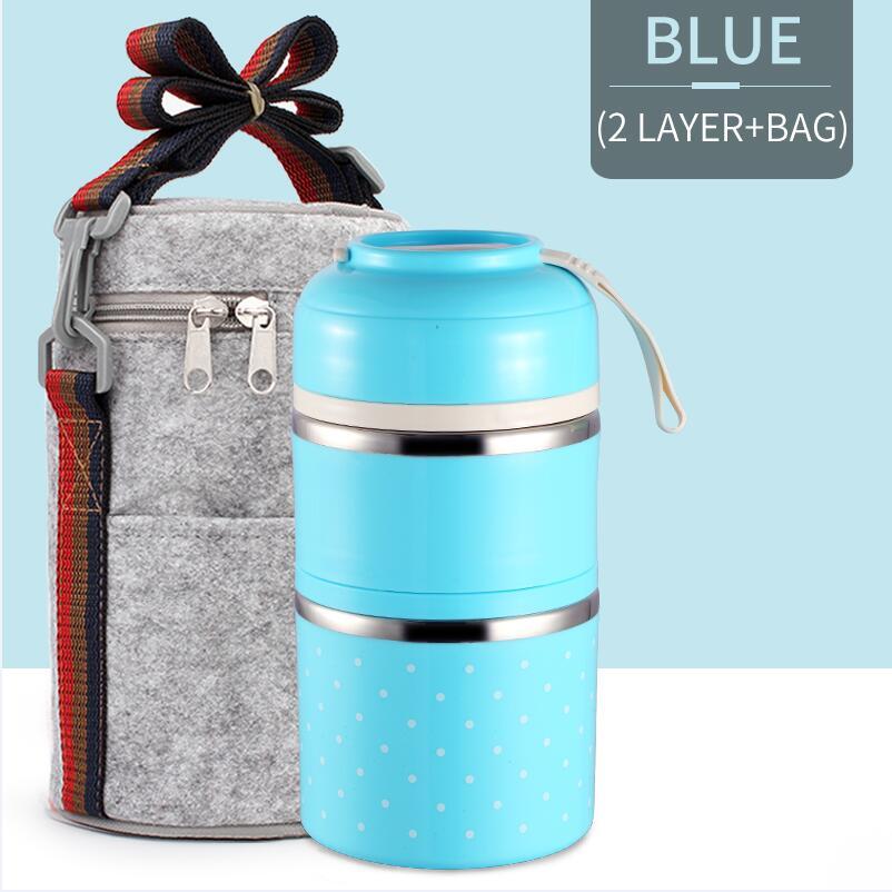Милые детские Термальность Коробки для обедов герметичность Нержавеющая сталь Bento box для детей Портативный Пикник школа Еда контейнер Box - Цвет: Blue 2 With Bag