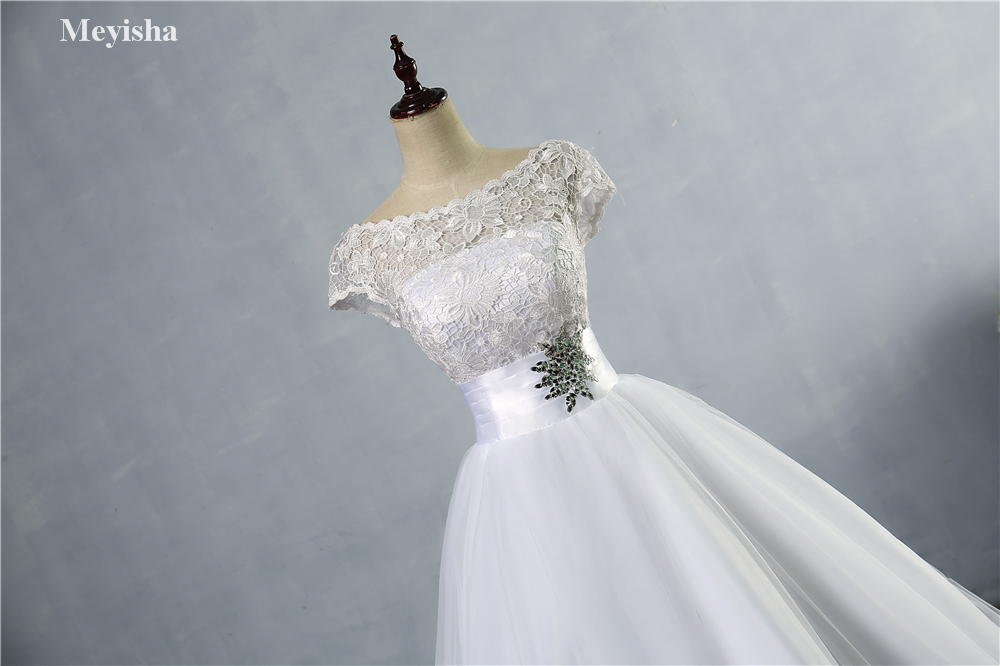 White Ivory Beading Cap Sleeve Lace Wedding Dress